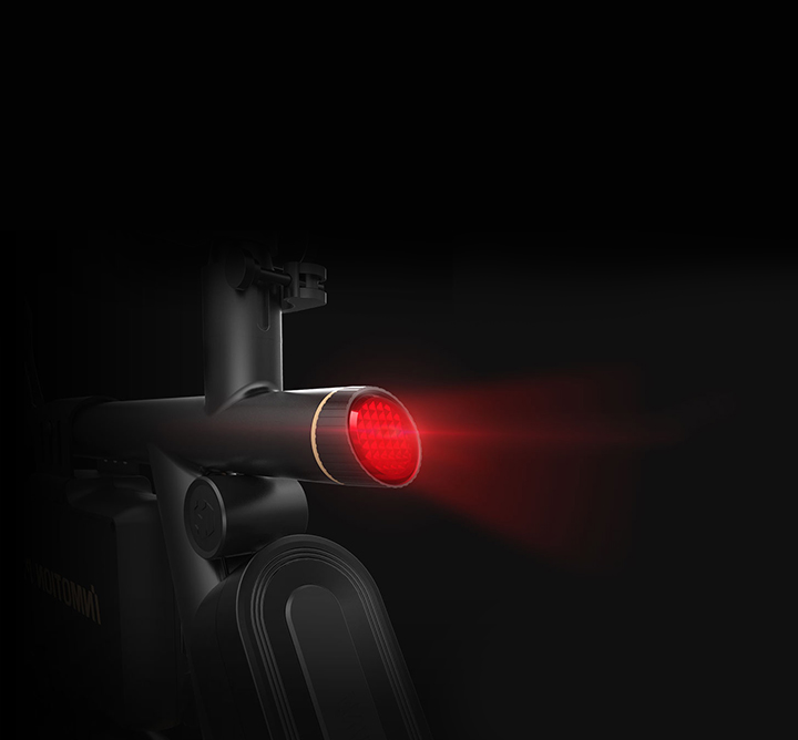 A highlight red LED light in the tail of the bicycle accompanies you in night riding.